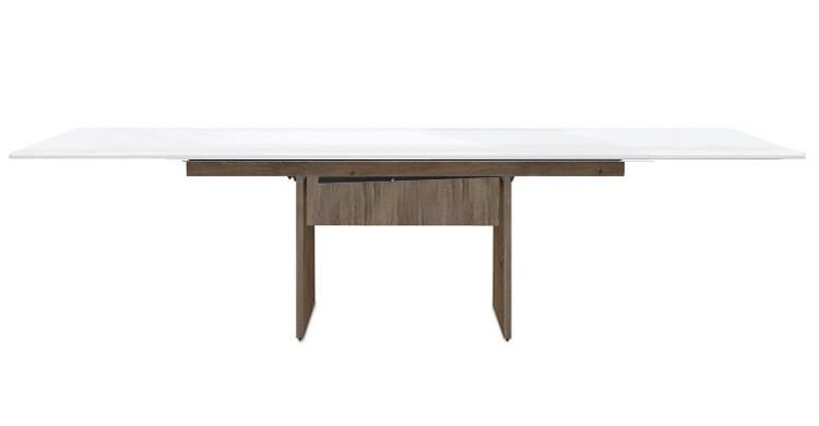 Jedálenský stôl Deck 220 cm, rozkladacia (biela lesk/kostra panely tmavý dub)