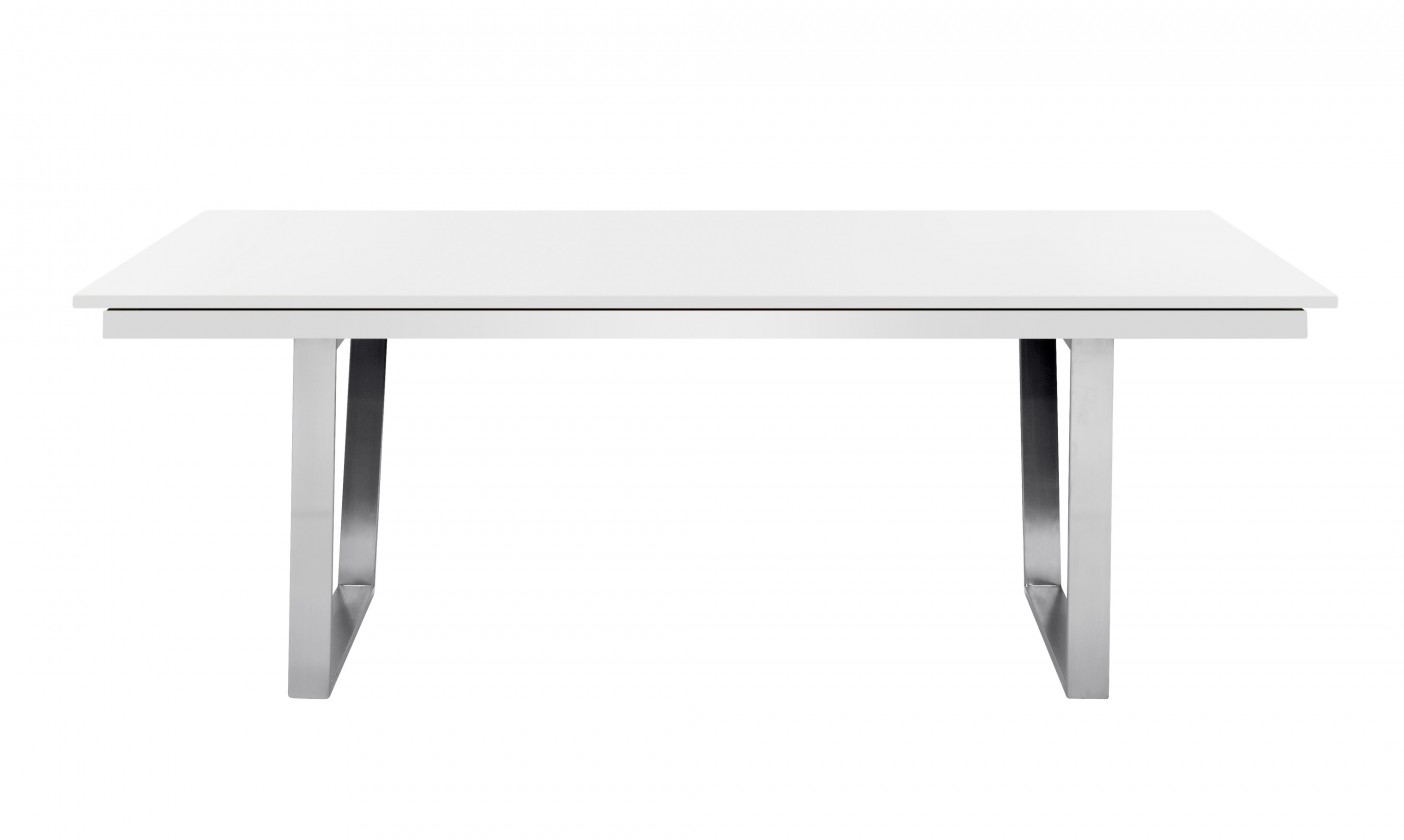 Jedálenský stôl Deck 220 cm, rozkladacia (doska biela/kostra oceľ)