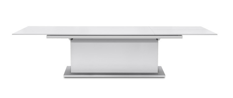 Jedálenský stôl Deck 220 cm, rozkladacia (doska biela/kostra postavec biela)