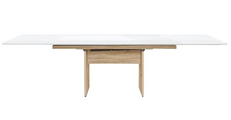 Jedálenský stôl Deck 220 cm, rozkladacia (doska biela lesk/kostra panely dub)
