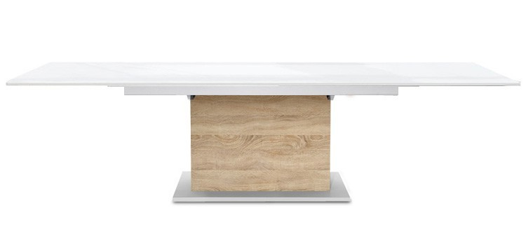 Jedálenský stôl Deck 220 cm, rozkladacia (doska biela lesk/kostra postavec dub)