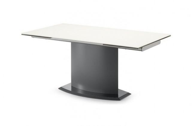 Jedálenský stôl Discovery - 160 cm (kostra antracit/deska leptané sklo šedé)