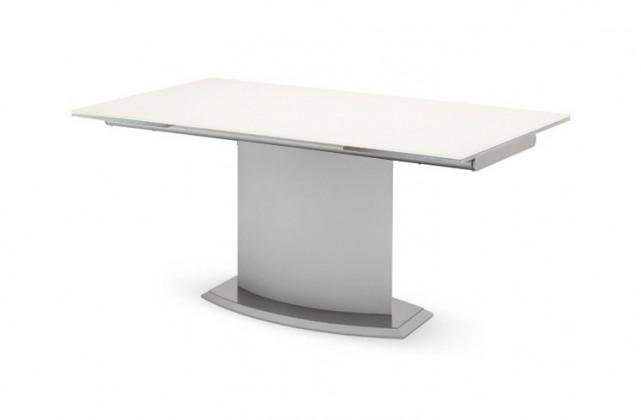 Jedálenský stôl Discovery - 160 cm (kostra biela/deska leptané sklo šedé)