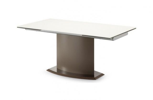 Jedálenský stôl Discovery - 160 cm (kostra taupe/deska leptané sklo šedé)