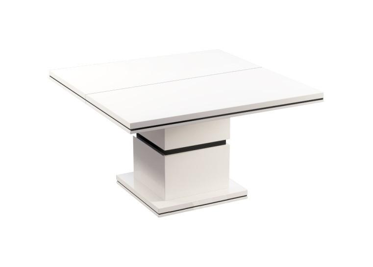 Jedálenský stôl Diva - Jedálenský stôl, štvorcový (biela/čierna)