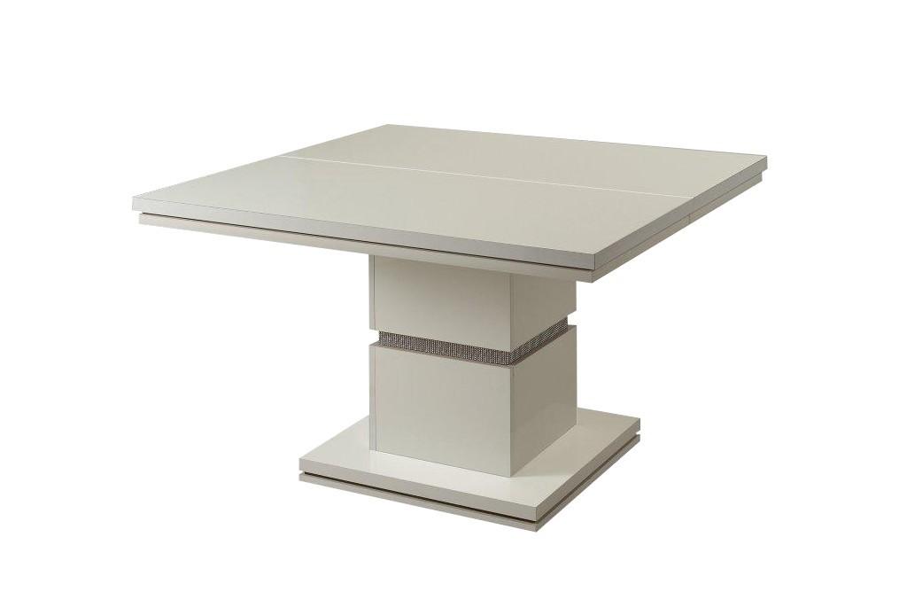 Jedálenský stôl Diva - Jedálenský stôl, štvorcový (biela/diamant)