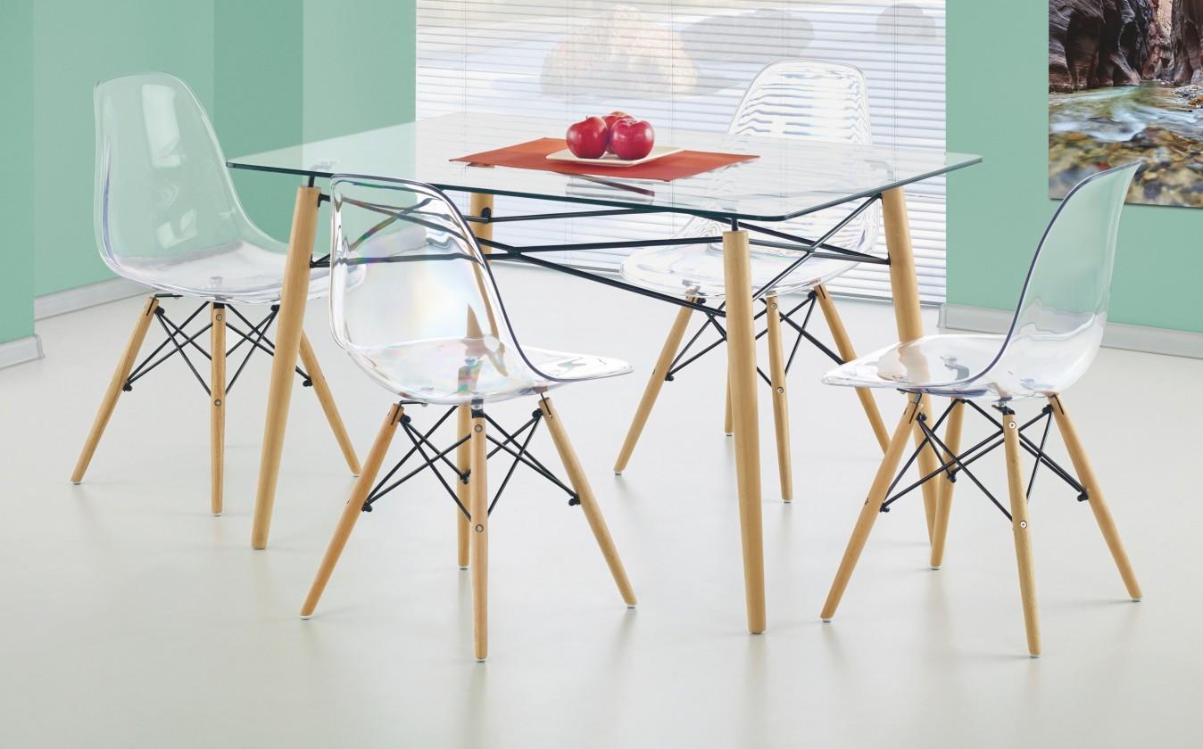 Jedálenský stôl Dominos (sklo - transparentné / buk)