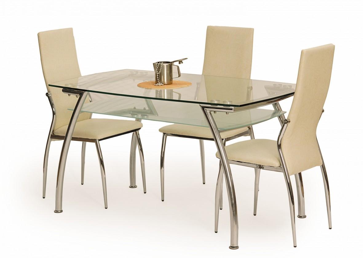 Jedálenský stôl Edgar (sklo - transparentné / oceľ)