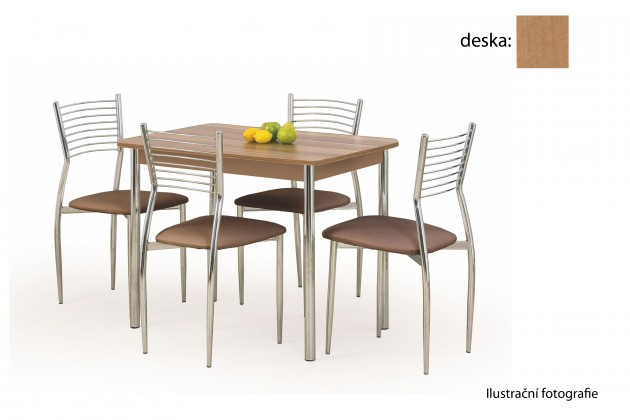 Jedálenský stôl Factor (jelša / chróm)