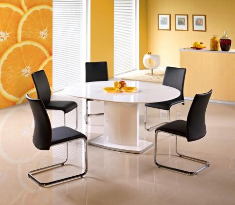 Jedálenský stôl Federico - Jedálenský stôl 120-160x120 (biely lak, strieborná)