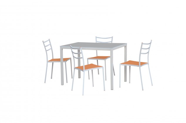 Jedálenský stôl Fidel (sklo - mliečna / biela)