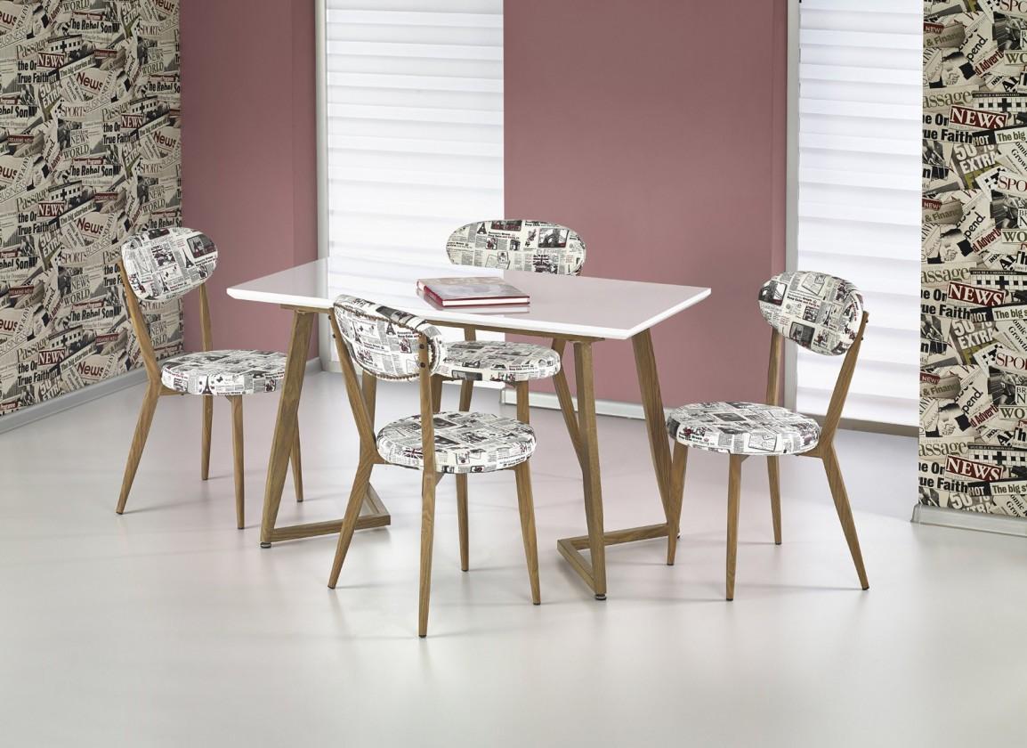 Jedálenský stôl Fiero - Jedálenský stôl 120x70 cm (biela, dub medový)