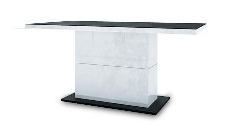 Jedálenský stôl Fin (doska čierna/podstavec čiernobiely)