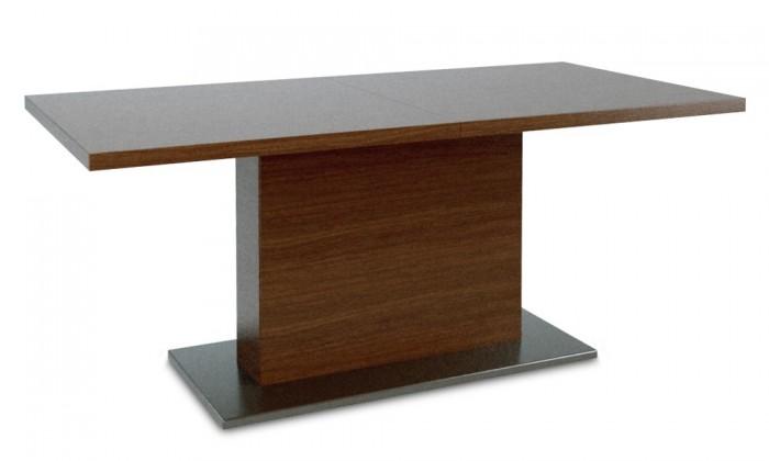 Jedálenský stôl Fin (doska, panel čokoládový jasan/podtavec čierny)