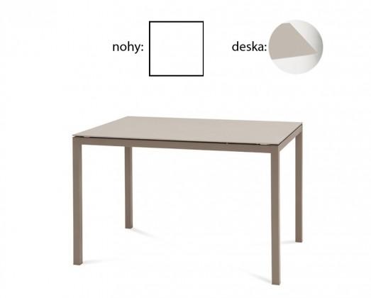 Jedálenský stôl Full (lak biely matný, leptané sklo béžové)