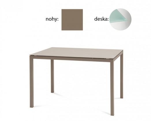 Jedálenský stôl Full (lak taupe matný, tlačené sklo)