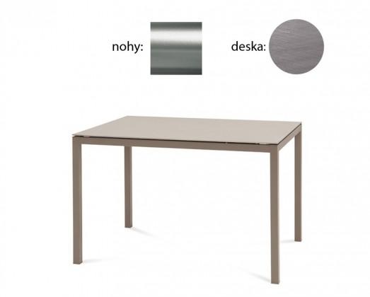 Jedálenský stôl Full (saténový hliník, antický dub)