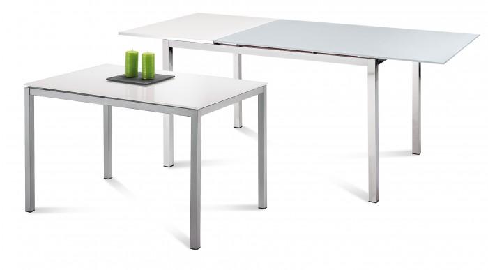 Jedálenský stôl Full (saténový hliník, biela matná) - II. akosť