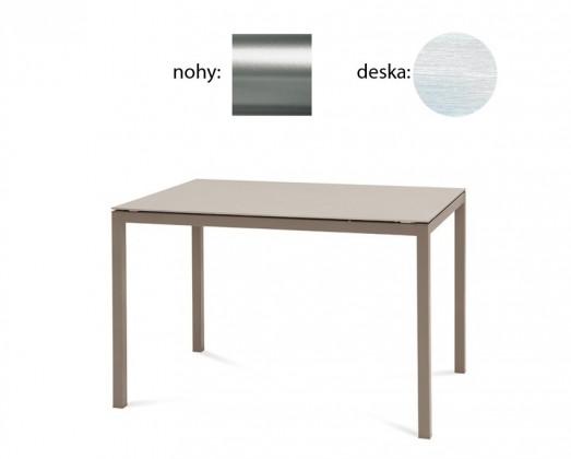 Jedálenský stôl Full (saténový hliník, biela štruktúra)