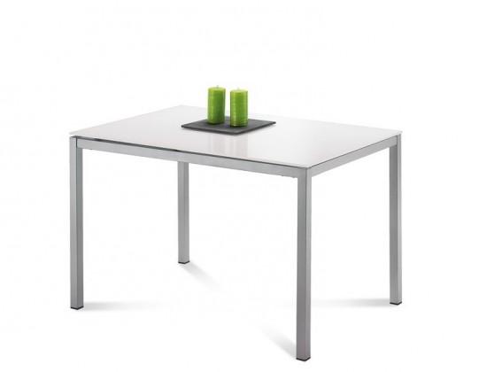 Jedálenský stôl Full (saténový hliník, extra biele sklo)