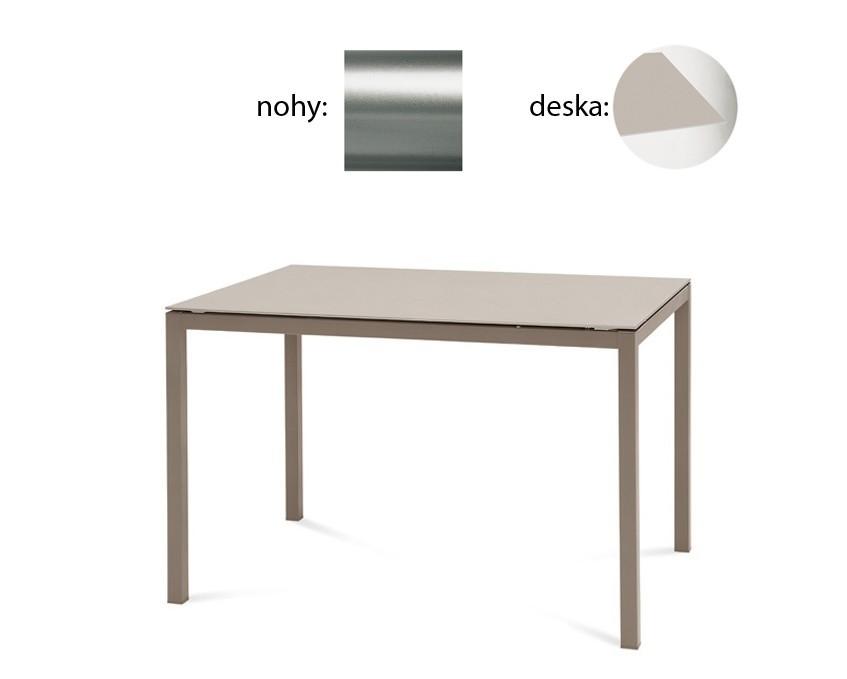 Jedálenský stôl Full (saténový hliník, leptané sklo béžové)