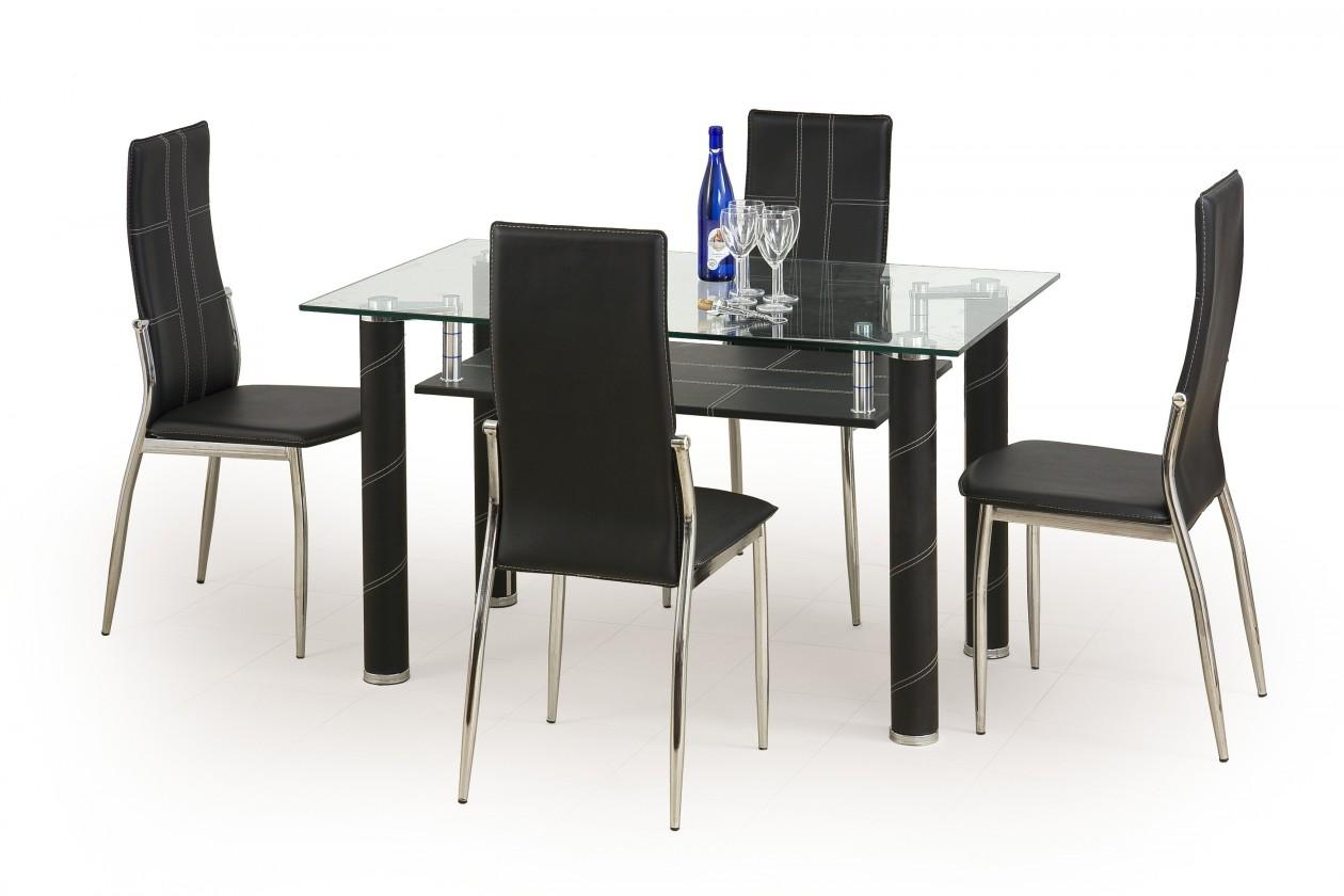Jedálenský stôl Gavin (sklo - transparentné / čierna)