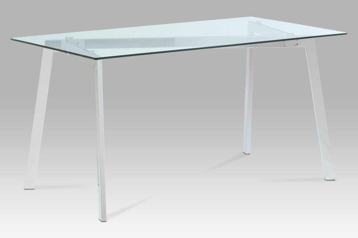 Jedálenský stôl GDT - Jedálenský stôl, číre sklo/chrom (150x75x80 cm)