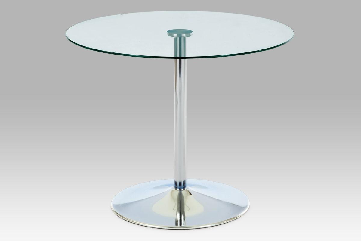 Jedálenský stôl GDT - Jedálenský stôl, číre sklo/chrom (90x75x90 cm)
