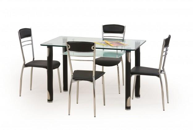 Jedálenský stôl Gotard (sklo - transparentné / čierna,oceľ)