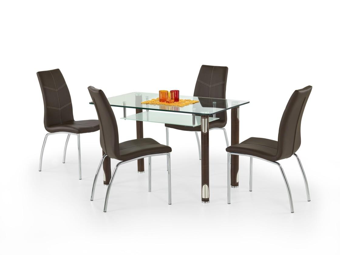 Jedálenský stôl Gotard (sklo - transparentné / hnedá,oceľ)