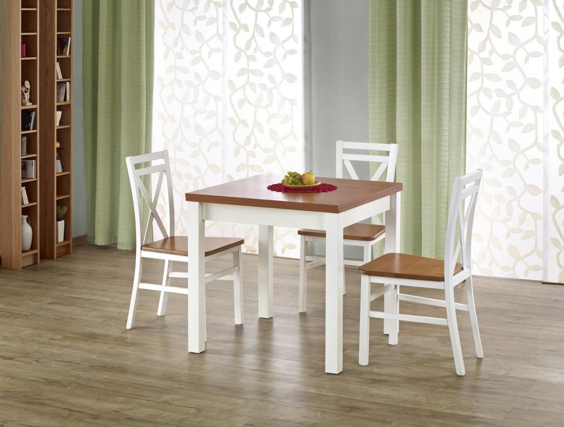 Jedálenský stôl Gracjan - Jedálenský stôl 80-160x80 cm (jelša, biela)