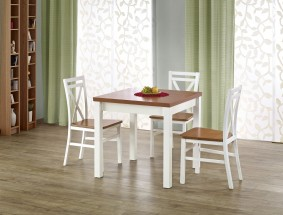 Jedálenský stôl Gracjan rozkladací 80-160x80 cm (jelša, biela)
