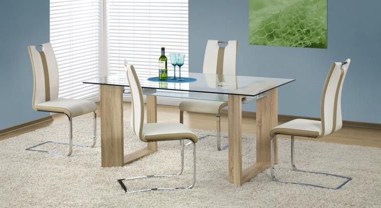 Jedálenský stôl Herbert (sklo - transparentné / dub sonoma)