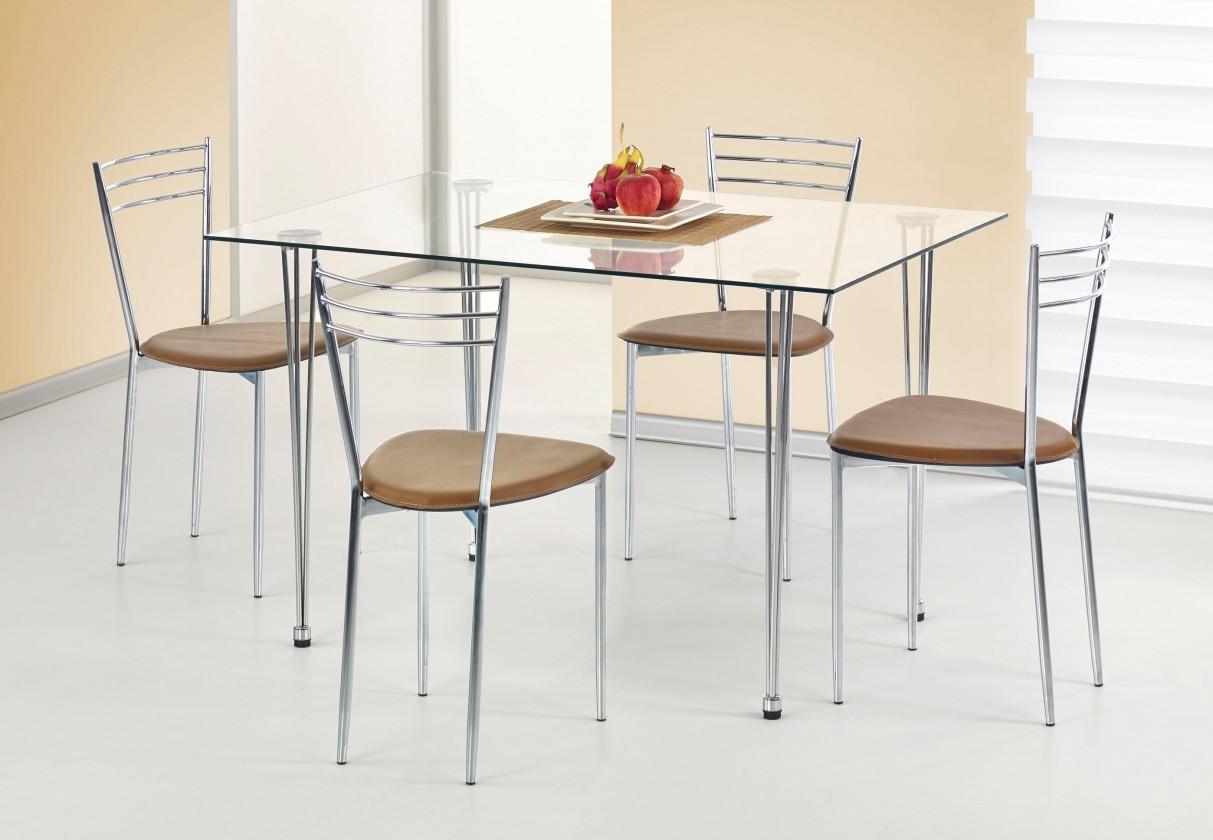 Jedálenský stôl Jasper (sklo - transparentné / oceľ)
