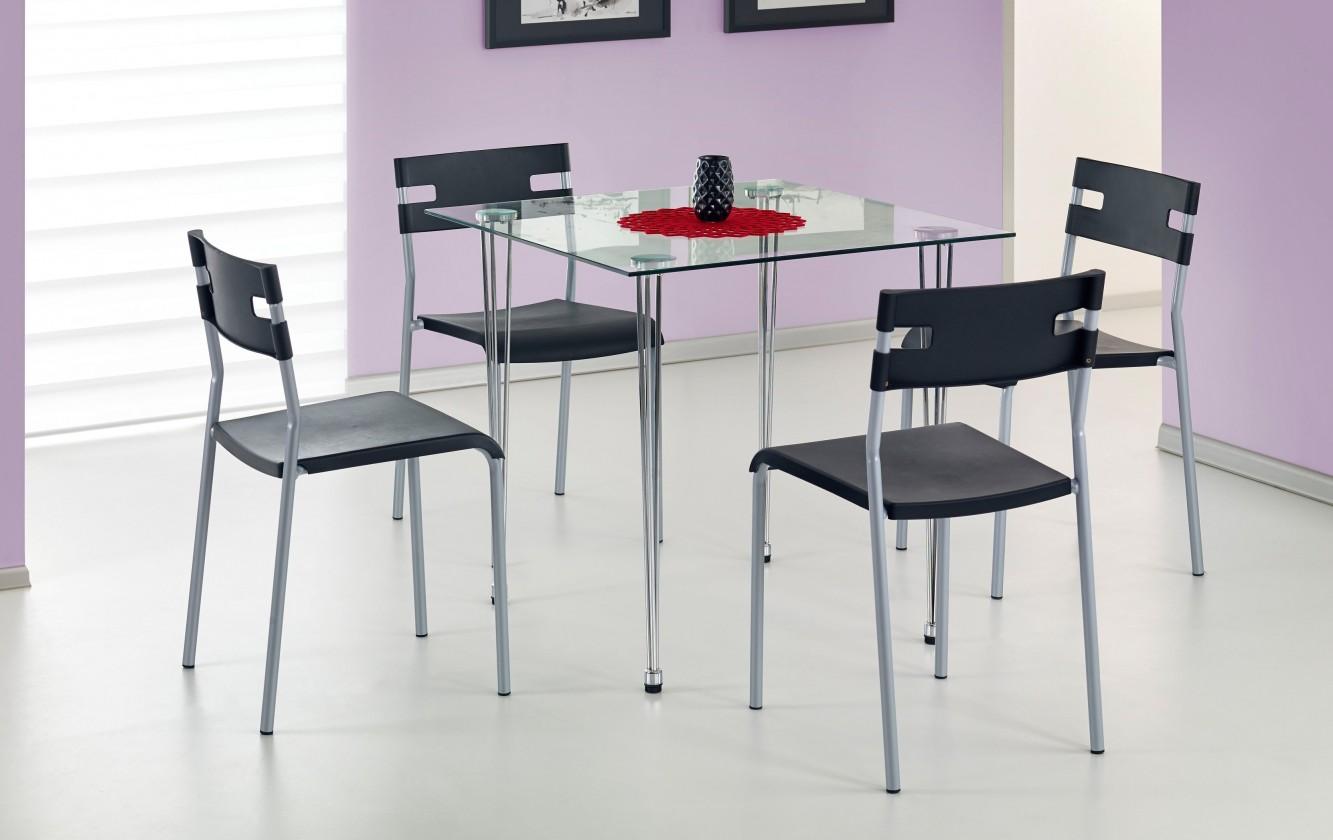 Jedálenský stôl Jasper-štvorec (sklo - transparentné / oceľ)