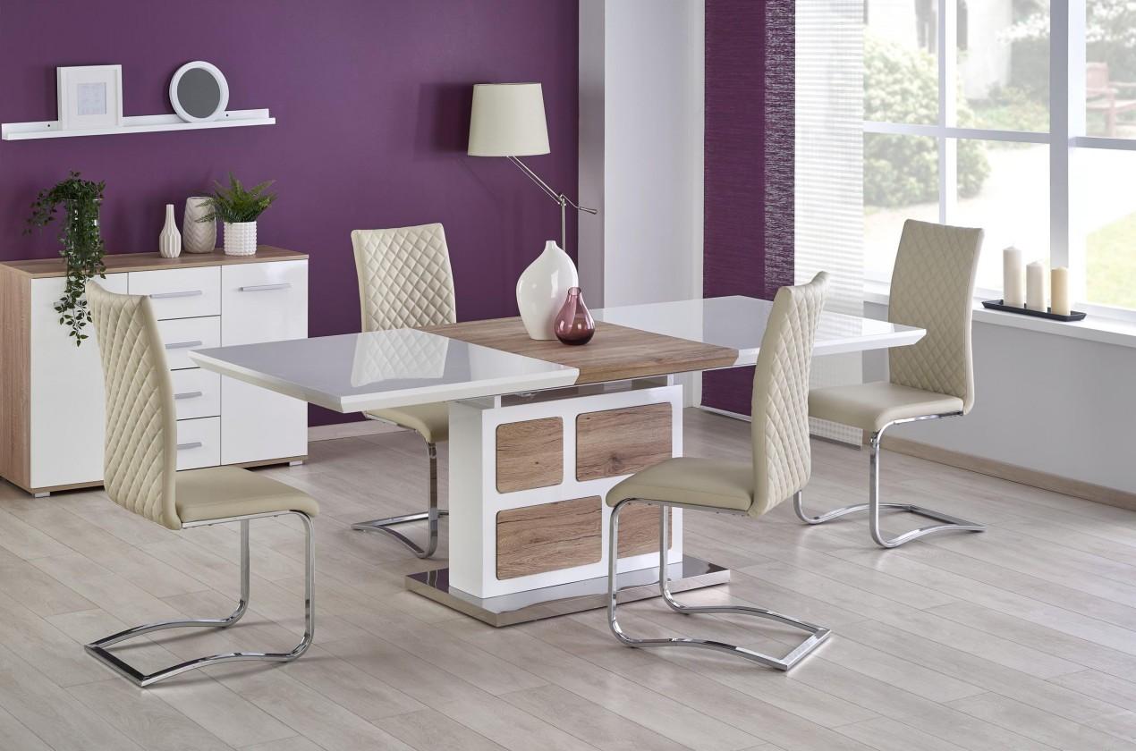Jedálenský stôl Jedálenský stôl Domus - rozkladací (bílá/dub san remo)