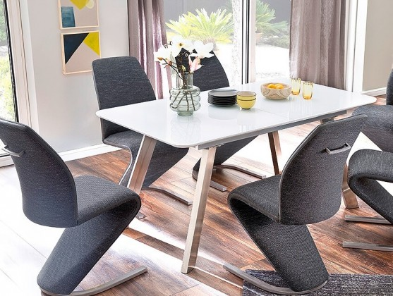 Jedálenský stôl Jedálenský stôl Omero rozkladací (biela, strieborná)
