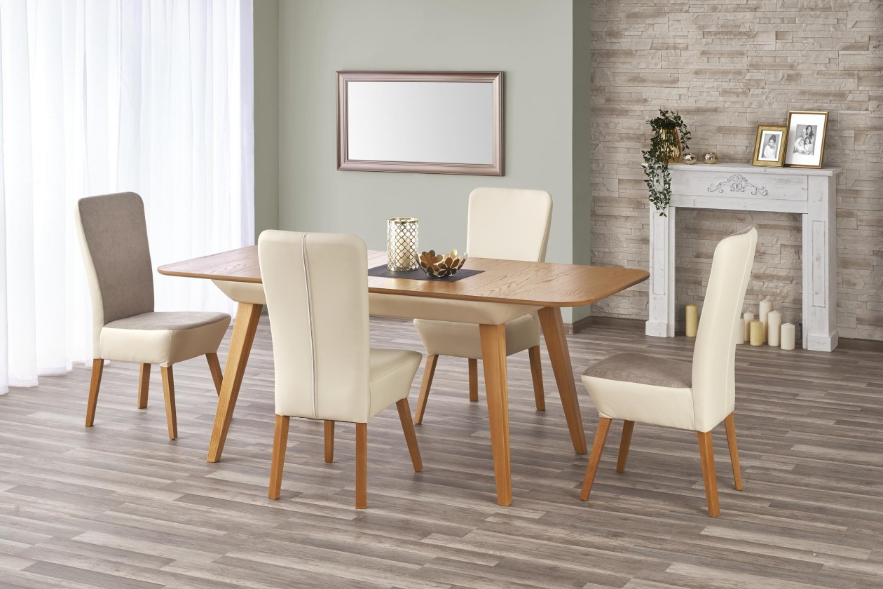 Jedálenský stôl Jedálenský stôl Orchid - rozkladací (dub medový/béžová)