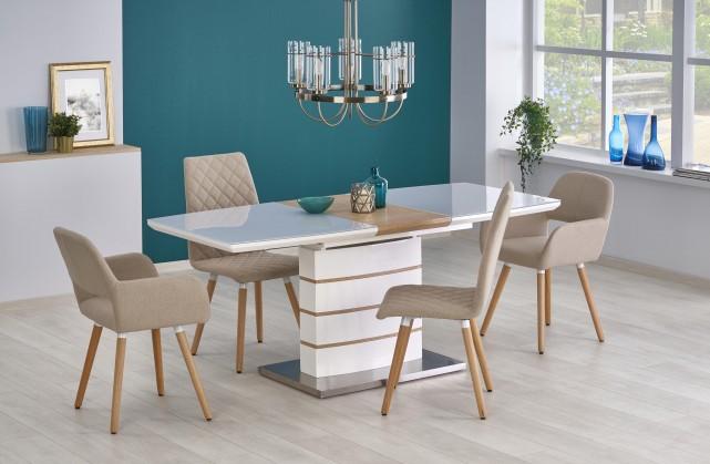 Jedálenský stôl Jedálenský stôl Toronto - rozkladací (bílá/dub zlatý/stříbrná)