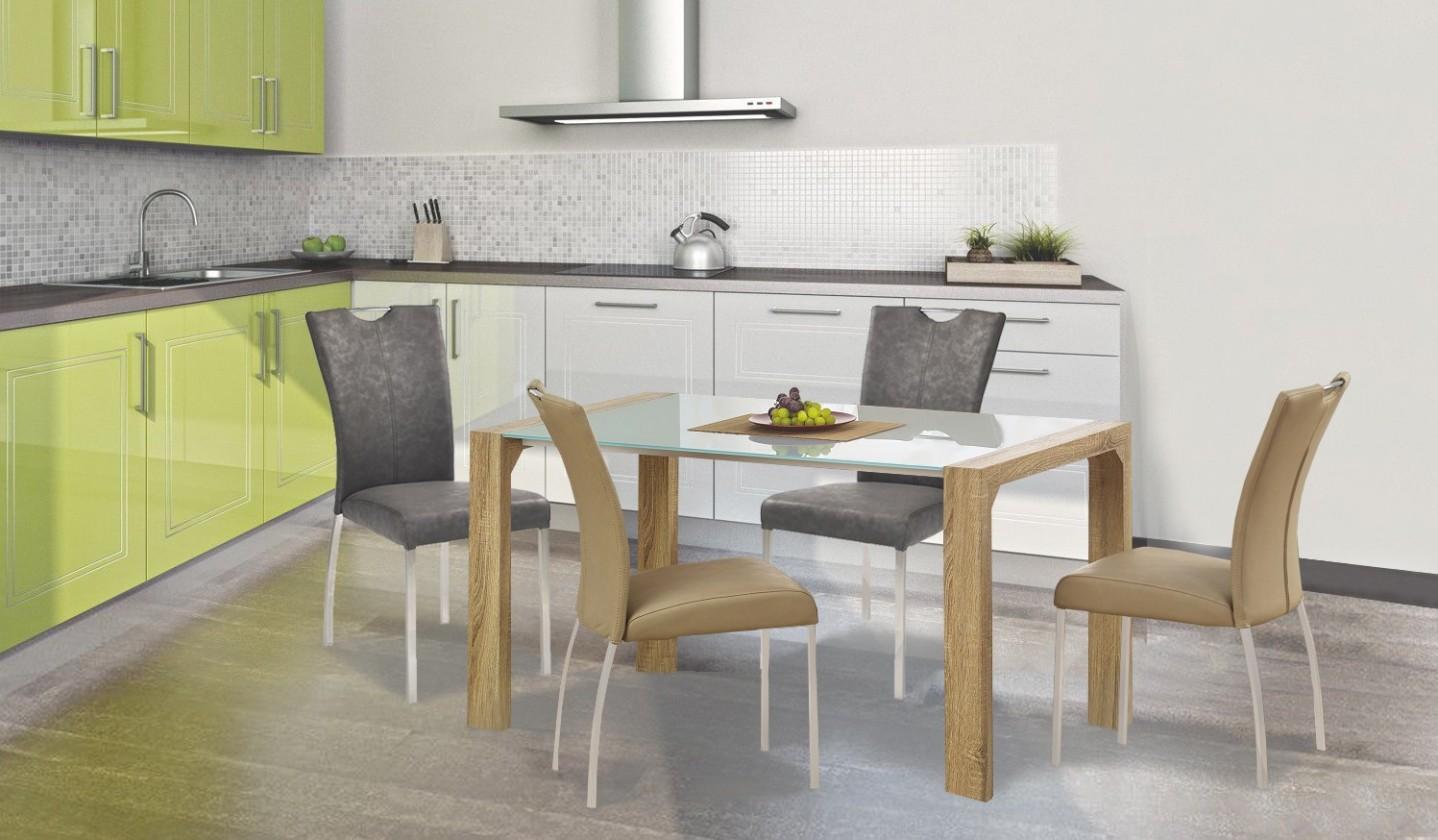 Jedálenský stôl Kevin  - jedálenský stôl (sklo - biela/dub sonoma)