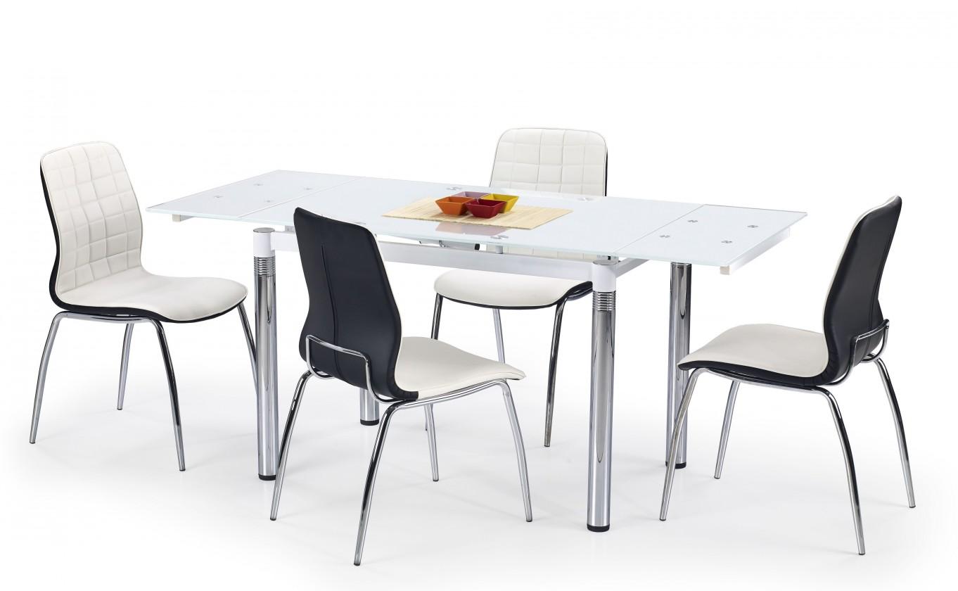 Jedálenský stôl L 31 (sklo - biela / oceľ)
