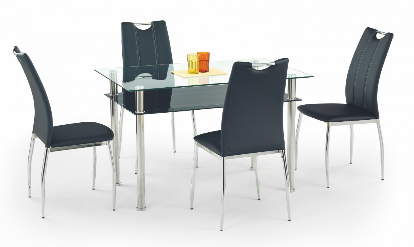 Jedálenský stôl Lester-120 (sklo - transparentné / sklo - čierna / nerez)