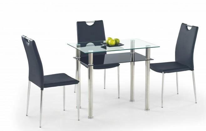 Jedálenský stôl Lester-90 (sklo - transparentné / sklo - čierna / nerez)