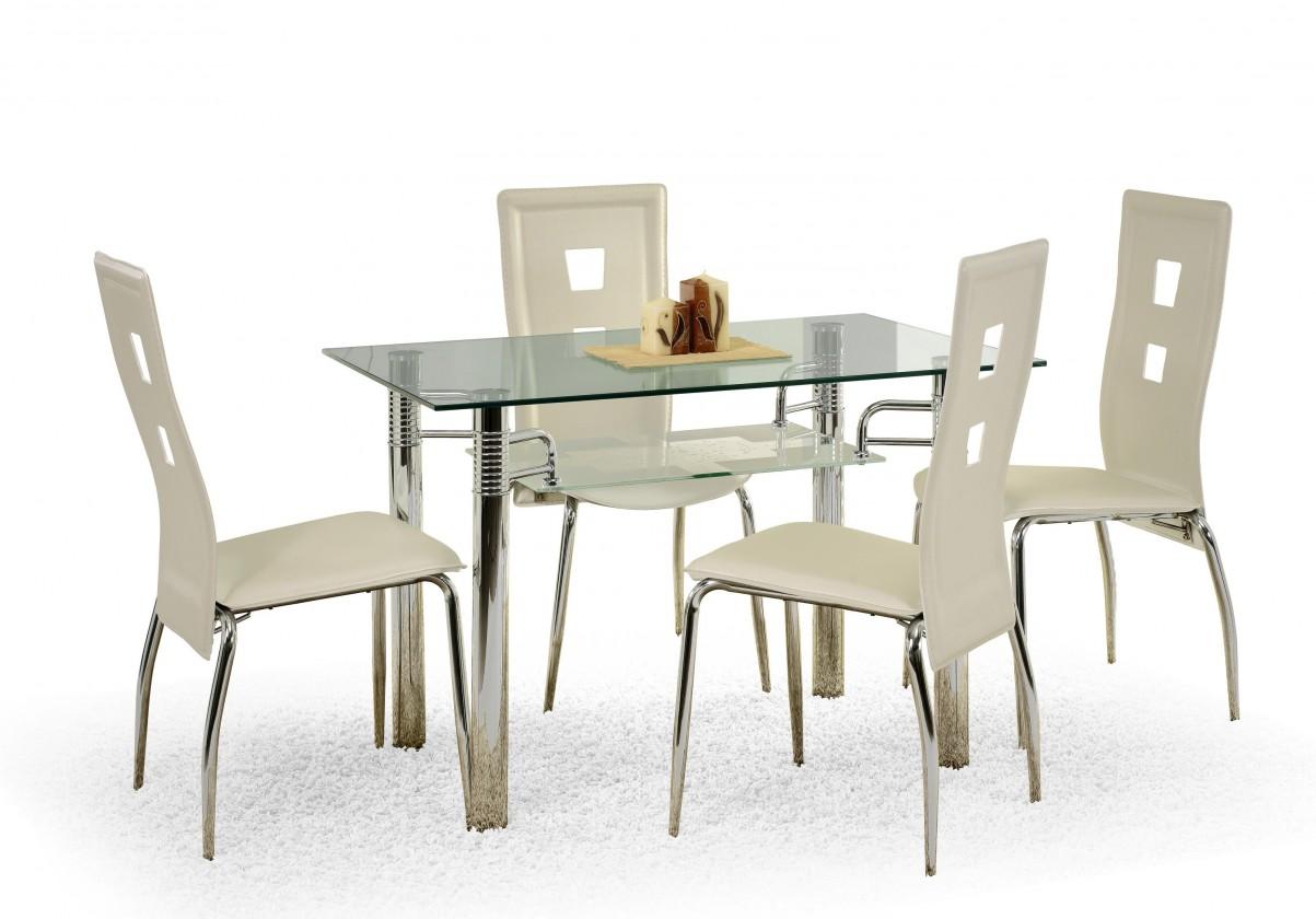 Jedálenský stôl Levis (sklo - transparentné / oceľ)