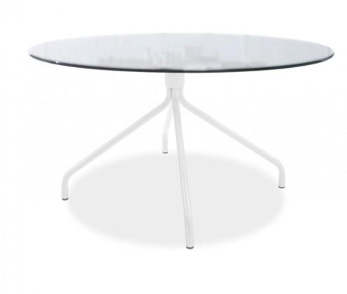 Jedálenský stôl LOLA 9307-090+EGO 9319-801 (čire sklo,biela)
