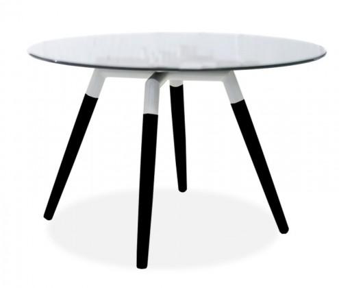 Jedálenský stôl LOLA 9307-090+FIDO 9315-424 (čire sklo,biela,čierna)