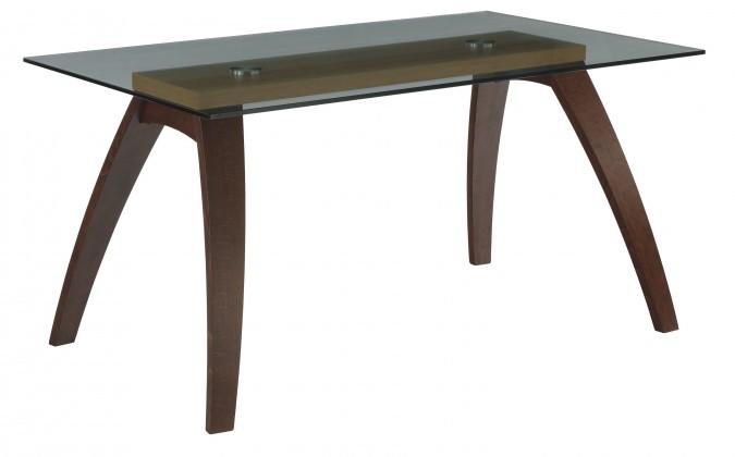 Jedálenský stôl LURAS(buk / sklo, morenie orech / buk)