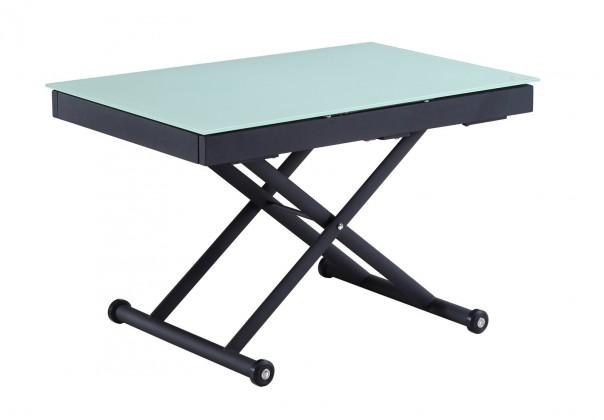 Jedálenský stôl Maestro - 120-255x80 (dub sonoma, čierna oceľ, mliečne sklo)