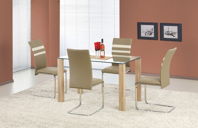 Jedálenský stôl Maxwel - jedálenský stôl (sklo - transparentné/dub sonoma)