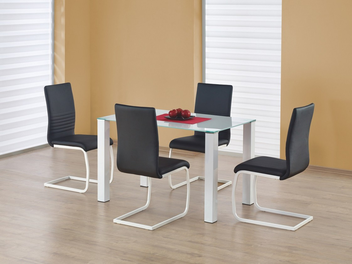 Jedálenský stôl Merlot  - jedálenský stôl (sklo - biela/biela)